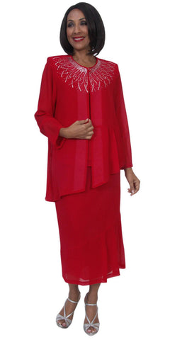 Hosanna 5245 Plus Size 3 Piece Red Tea Length Dress