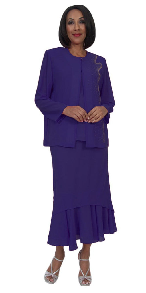 Hosanna 5249 3 Piece Dress Set Modest Tea Length Purple