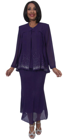 Hosanna 5250 Plus Size 3 Piece Set Purple Ankle Length Dress
