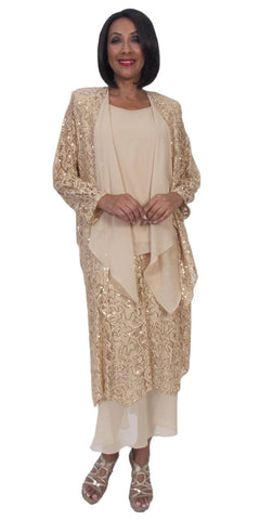 Hosanna 5281 Plus Size 3 Piece Set Gold Tea Length Dress