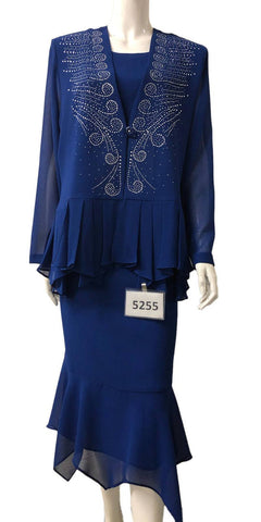 Long Sleeved Lace Bodice A-Line Long Formal Dress Royal Blue