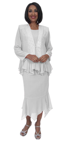 Hosanna 5255 Plus Size 3 Piece Set White Ankle Length Dress
