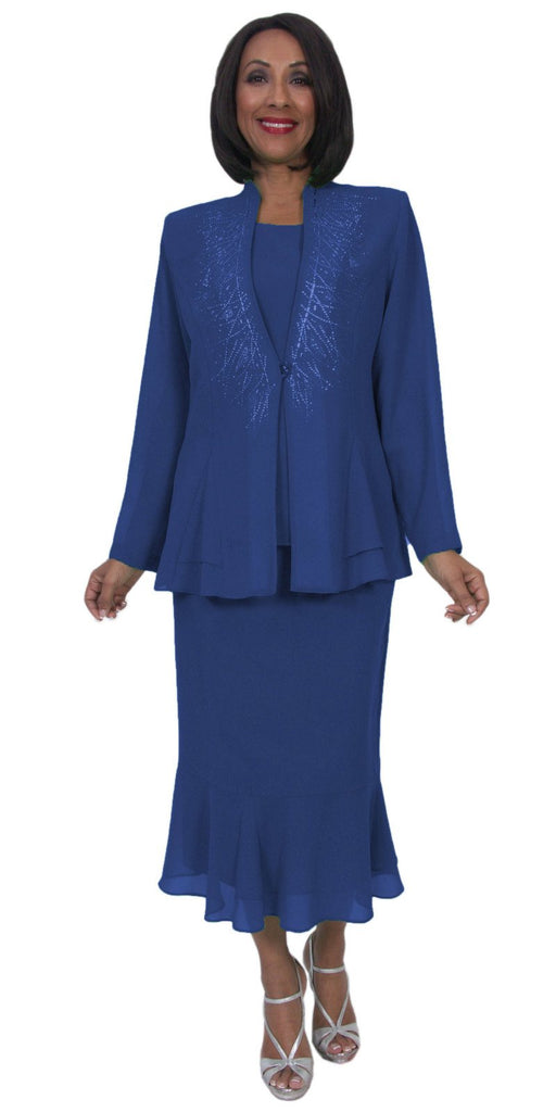 Hosanna 5259 Plus Size 3 Piece Set Navy Blue Ankle Length Dress