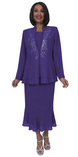 Hosanna 5259 Plus Size 3 Piece Set Purple Ankle Length Dress