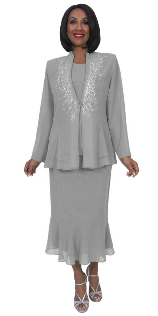 Hosanna 5259 Plus Size 3 Piece Set Silver Ankle Length Dress