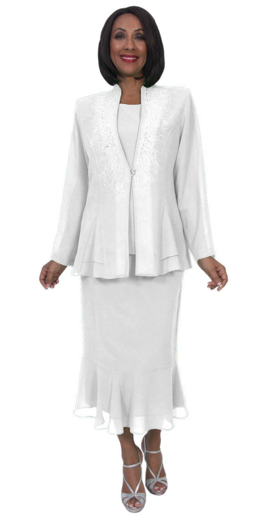 Hosanna 5259 Plus Size 3 Piece Set White Ankle Length Dress