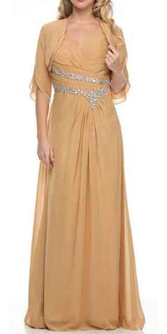 Gold Mother of Bride Dress Chiffon Long With Jacket Wide Straps