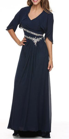 Navy Mother of Bride Dress Chiffon Long With Jacket Wide Straps