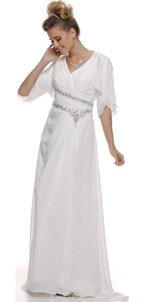 Off White Mother of Bride Dress Chiffon Long With Jacket Wide Straps