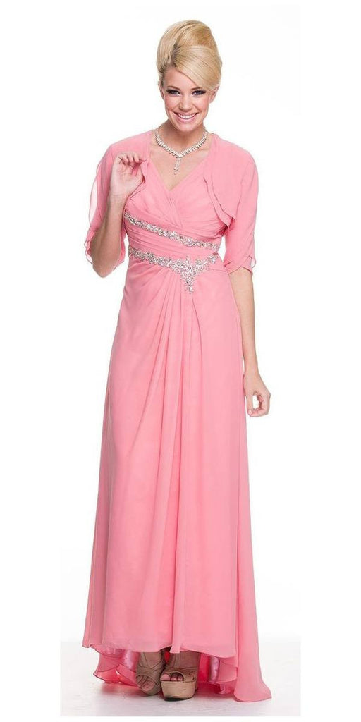 Rose Mother of Bride Dress Chiffon Long With Jacket Wide Straps