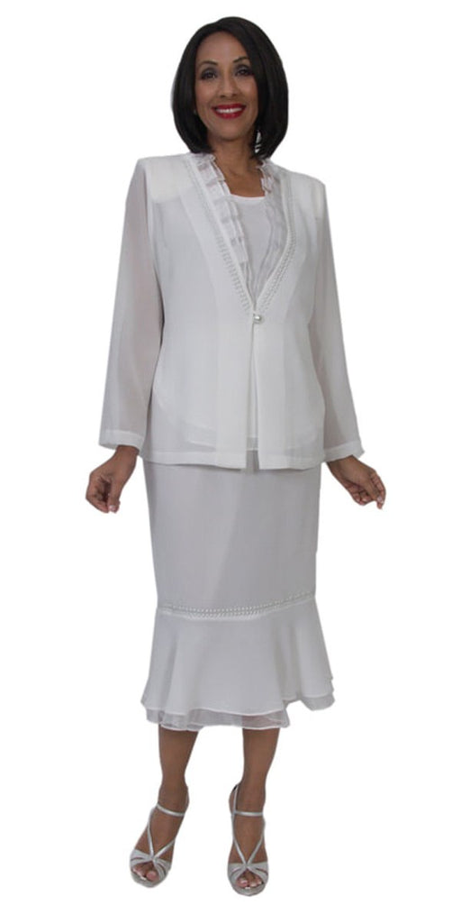 Hosanna 5260 Modest Tea Length 3 Piece Dress Set White