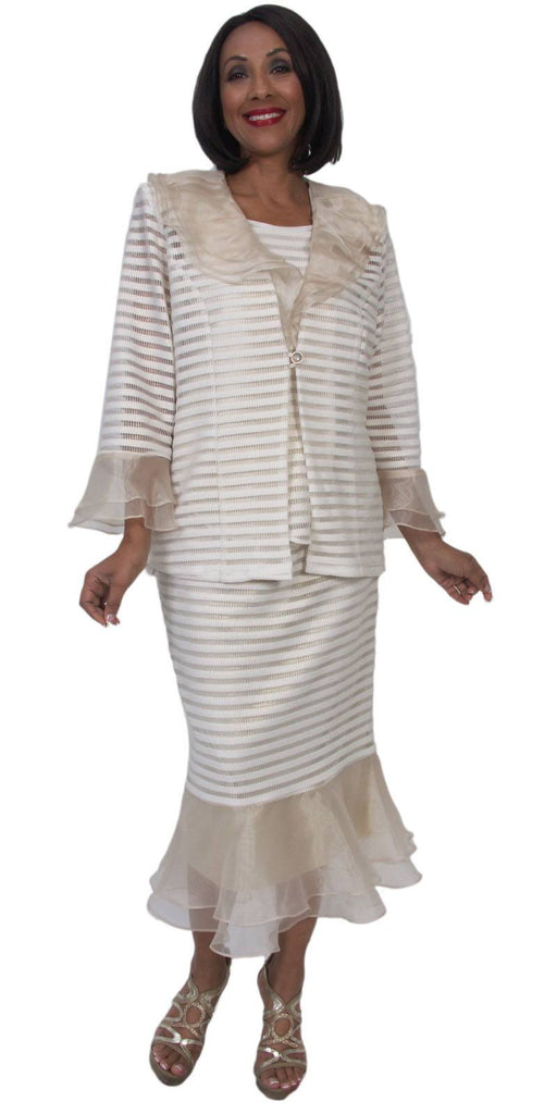 Hosanna 5263 Plus Size 3 Piece Set Off White/Gold Tea Length Dress