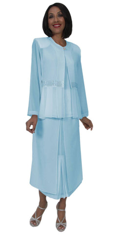 Hosanna 5264 Plus Size 3 Piece Set Aqua Tea Length Dress