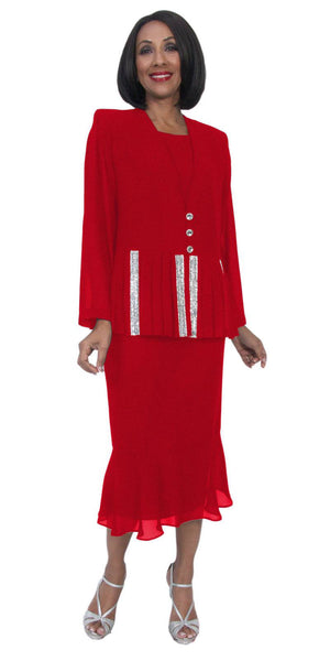 Hosanna 5267 Plus Size 3 Piece Set Red Ankle Length Dress