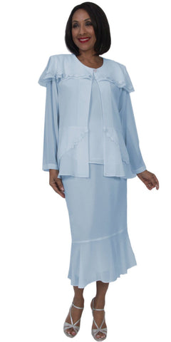 Hosanna 5269 Plus Size 3 Piece Set Blue Tea Length Dress