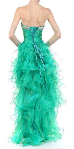 Two Tone Emerald Green Formal High Low Dress Strapless Ruffle Skirt