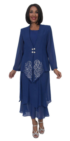 Hosanna 5271 Plus Size 3 Piece Set Royal Blue Tea Length Dress