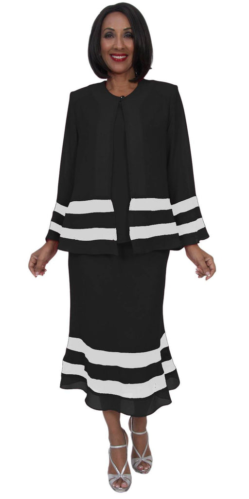 Hosanna 5274 Plus Size 3 Piece Set Black/White Tea Length Dress