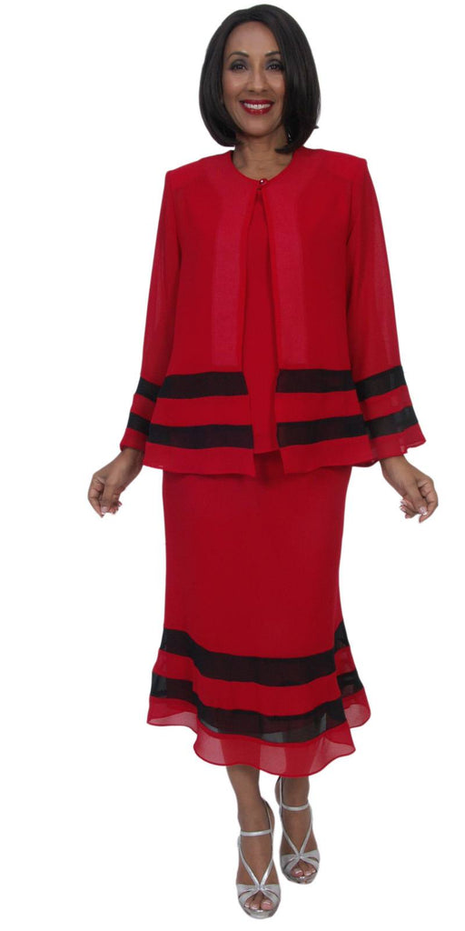 Hosanna 5274 Plus Size 3 Piece Set Red/Black Tea Length Dress
