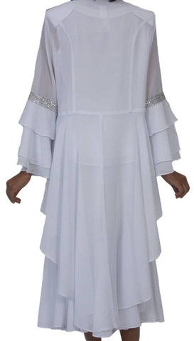Hosanna 5273 Plus Size 3 Piece Set White Ankle Length Dress