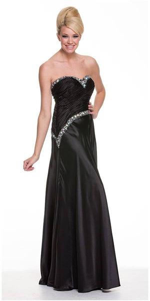 ON SPECIAL - LIMITED STOCK - Sleek Black Formal Evening Dress Satin Strapless Sweetheart Beading