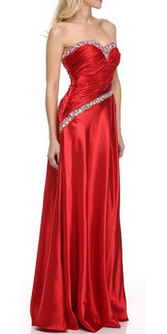 ON SPECIAL - LIMITED STOCK - Ruched Sweetheart Bodice Strapless Red Red Carpet Gown