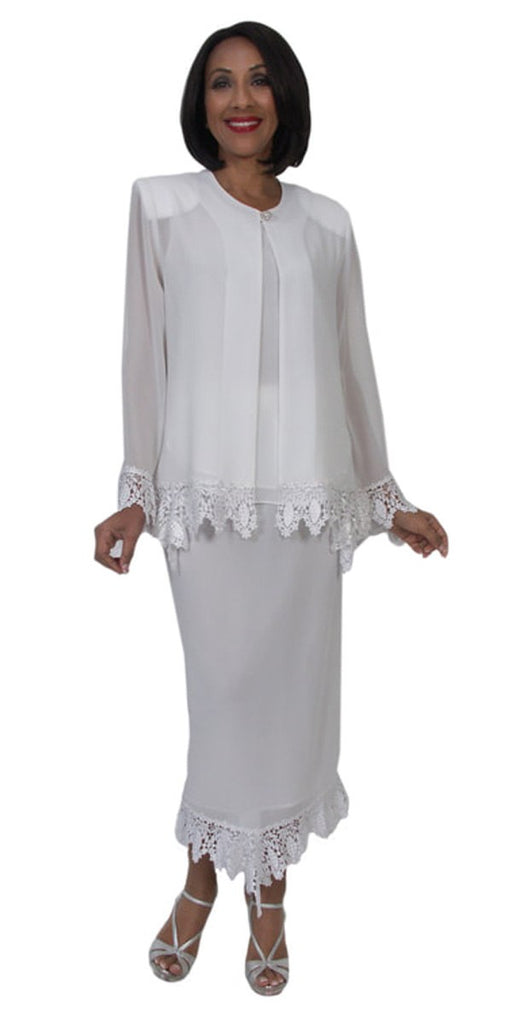 Hosanna 5280 Modest Tea Length 3 Piece Dress Set White