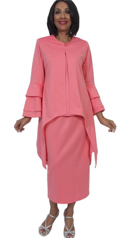 Hosanna 5283 Plus Size 3 Piece Set Coral Tea Length Dress