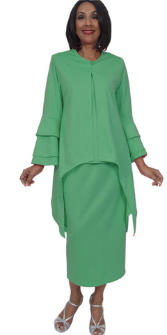 Hosanna 5283 Plus Size 3 Piece Set Kelly Green Tea Length Dress