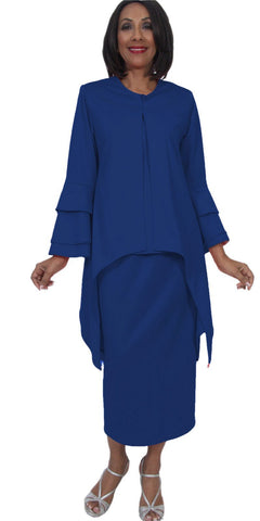 Hosanna 5283 Plus Size 3 Piece Set Royal Blue Tea Length Dress