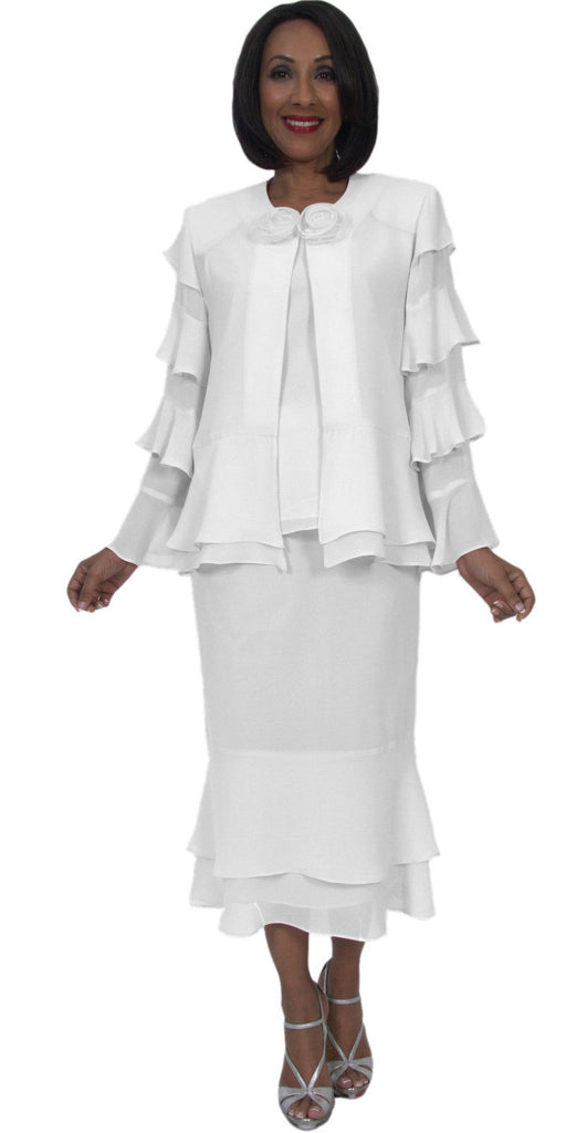 Hosanna 5289 Plus Size 3 Piece Set White Tea Length Dress