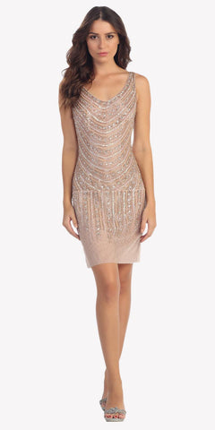 Beige Fully Beaded Cocktail Dress Scoop Neckline
