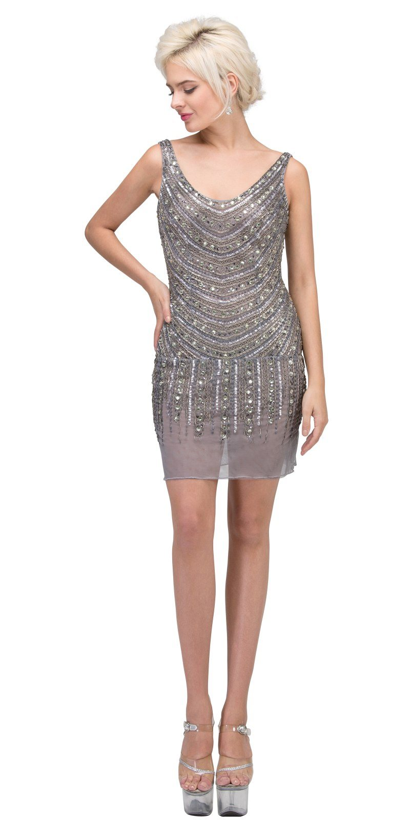 Starbox USA 529 Beige Fully Beaded Cocktail Dress Scoop Neckline ...