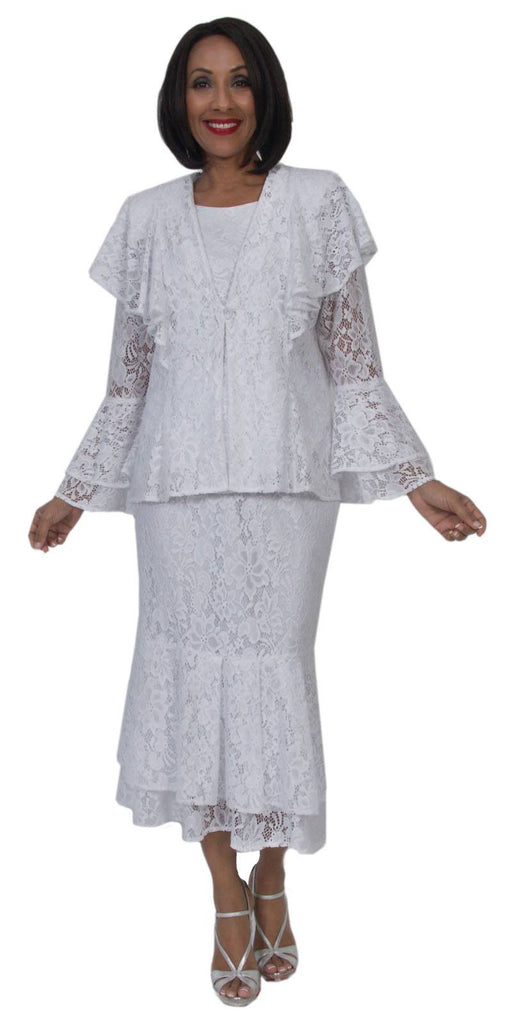 Hosanna 5291 Modest Tea Length Lace 3 Piece Dress Set White