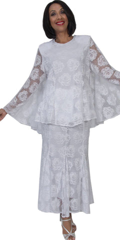 Hosanna 5292 Plus Size 3 Piece Set White Tea Length Lace Dress