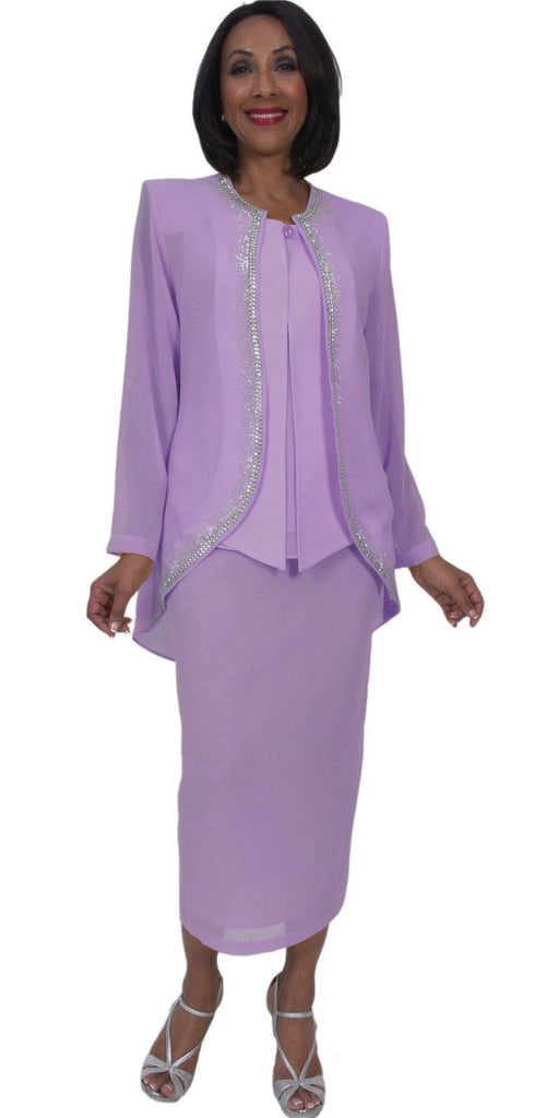 Hosanna 5293 Modest Tea Length 3 Piece Dress Set Lilac