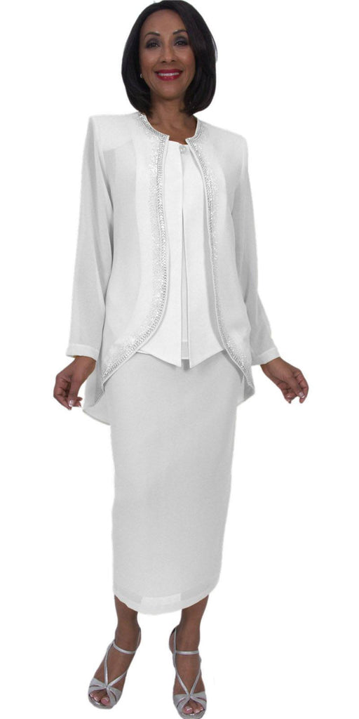 Hosanna 5293 Modest Tea Length 3 Piece Dress Set White