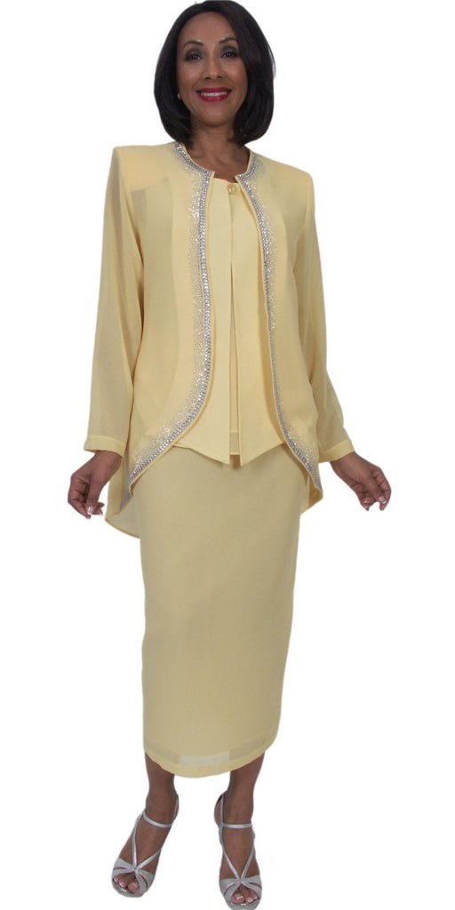 Hosanna 5293 Modest Tea Length 3 Piece Dress Set Yellow