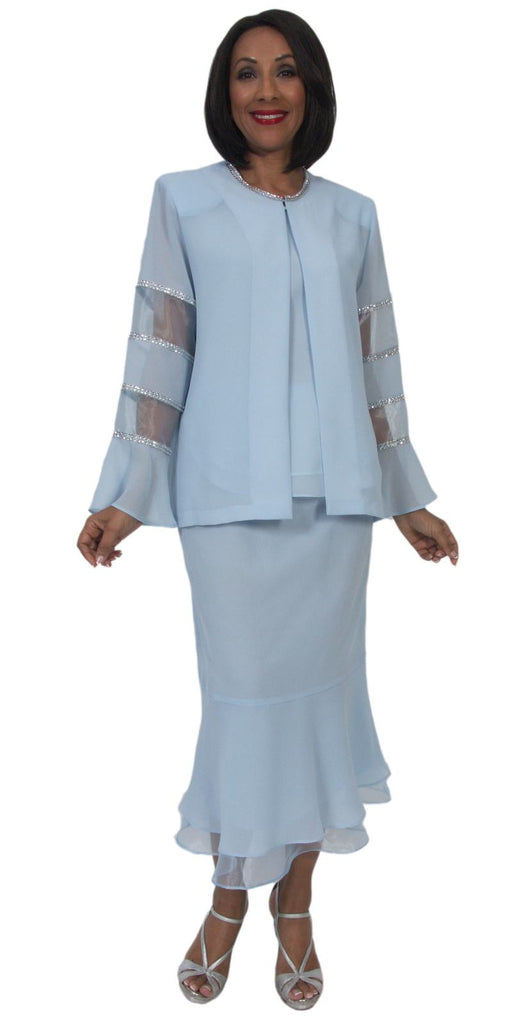 Hosanna 5295 Modest Tea Length 3 Piece Dress Set Blue