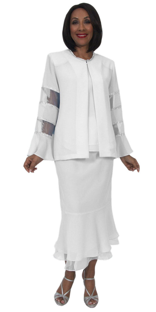 Hosanna 5295 Modest Tea Length 3 Piece Dress Set White