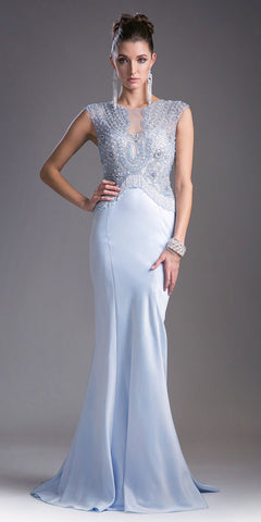Cap Sleeved Beaded Mermaid Long Prom Dress Ice Blue