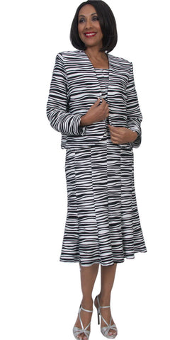 Hosanna 5298 Plus Size 3 Piece Set Black/White Tea Length Zebra Print Dress