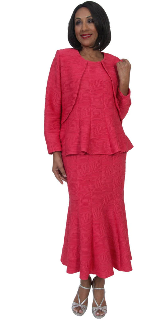 Hosanna 5302 Modest Tea Length 3 Piece Peplum Dress Set Coral