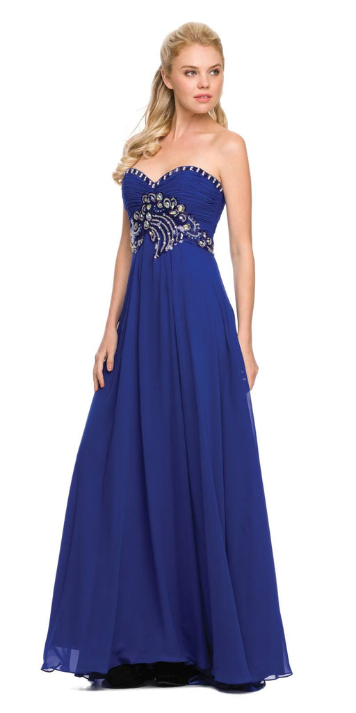 Juliet 532 Stunning Long Chiffon Royal Blue Evening Dress Sweetheart Back Train