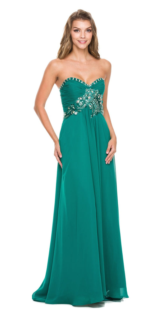 Juliet 532 Stunning Long Chiffon Teal Green Evening Dress Sweetheart Back Train