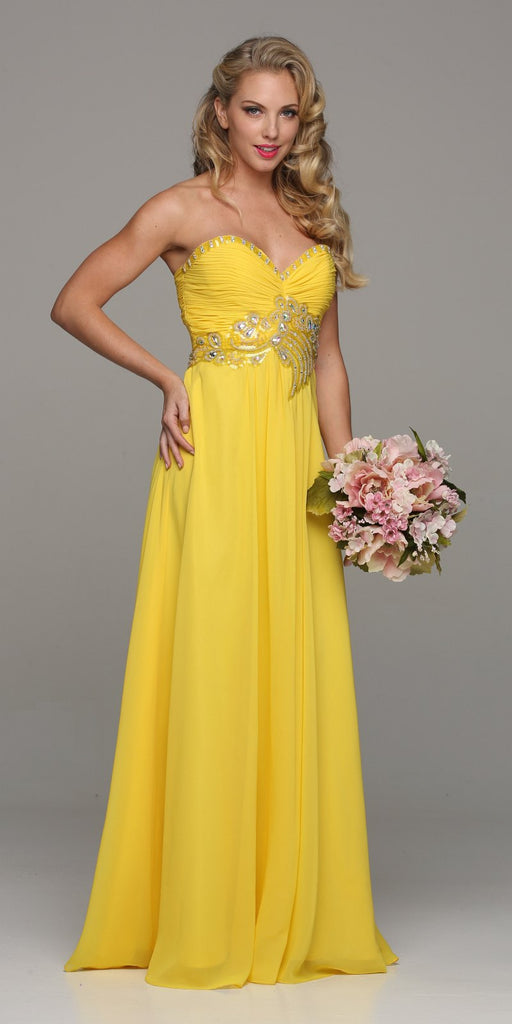 Juliet 532 Stunning Long Chiffon Yellow Evening Dress Sweetheart Back Train