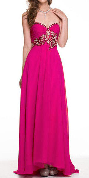 Stunning Long Chiffon Fuchsia Evening Dress Sweetheart Back Train