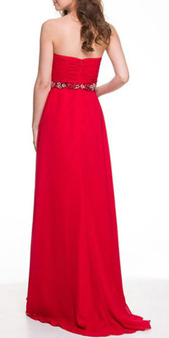 Stunning Long Chiffon Red Evening Dress Sweetheart Back Train Back