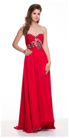 Stunning Long Chiffon Red Evening Dress Sweetheart Back Train