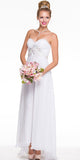 Stunning Long Chiffon Off White Evening Dress Sweetheart Back Train